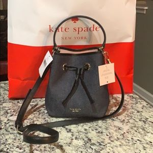 NWT Authentic Kate Spade Small bucket Denim Bag